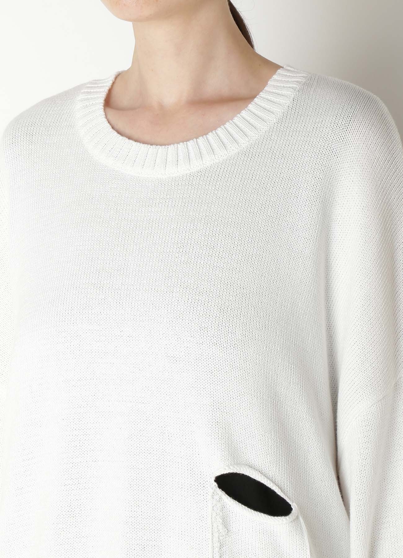 7G3P PS HOLE LONG SLEEVE HOLE KNIT