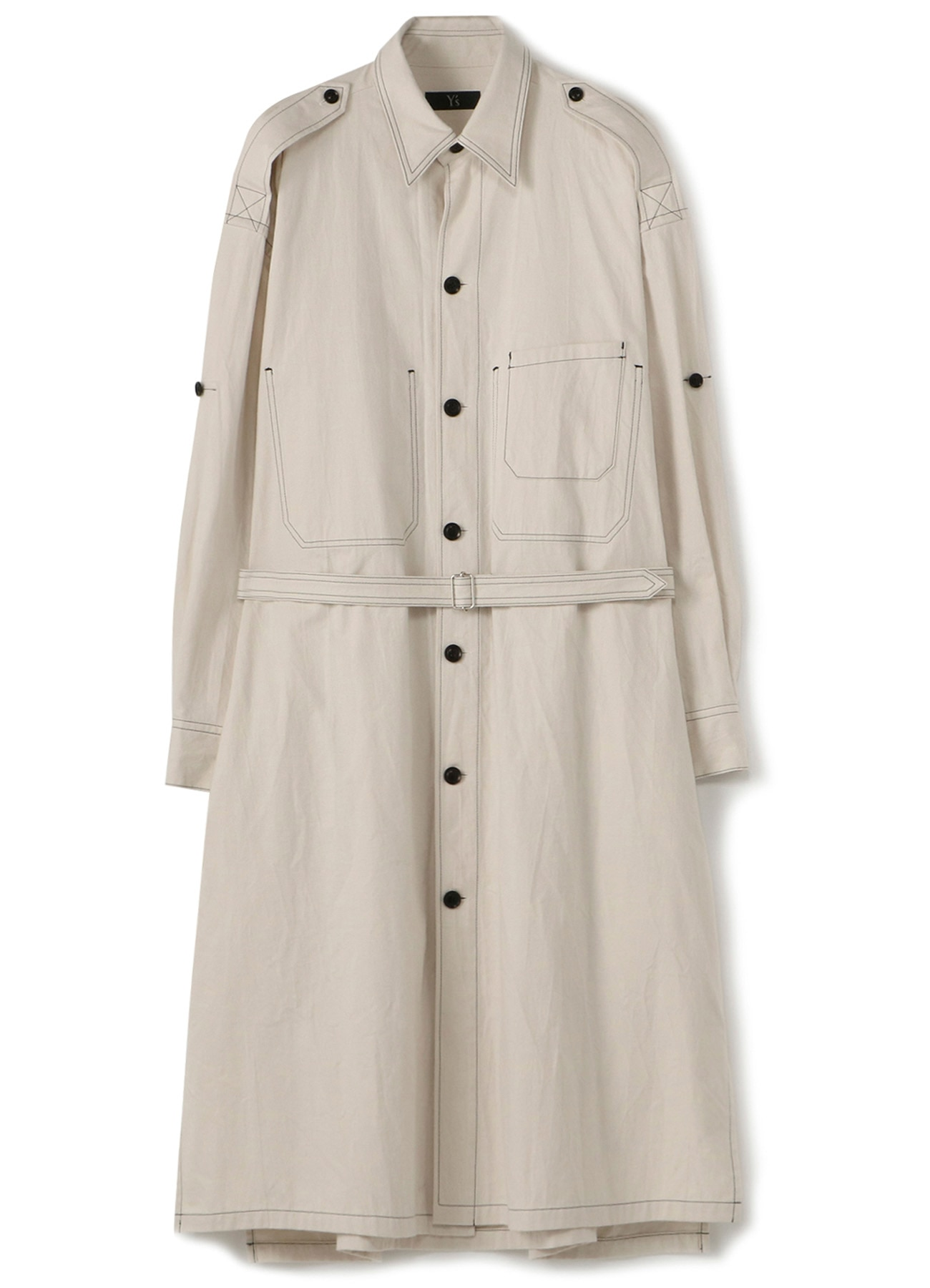 COTTON TWILL 2 CHEST POCKET SHIRT DRESS