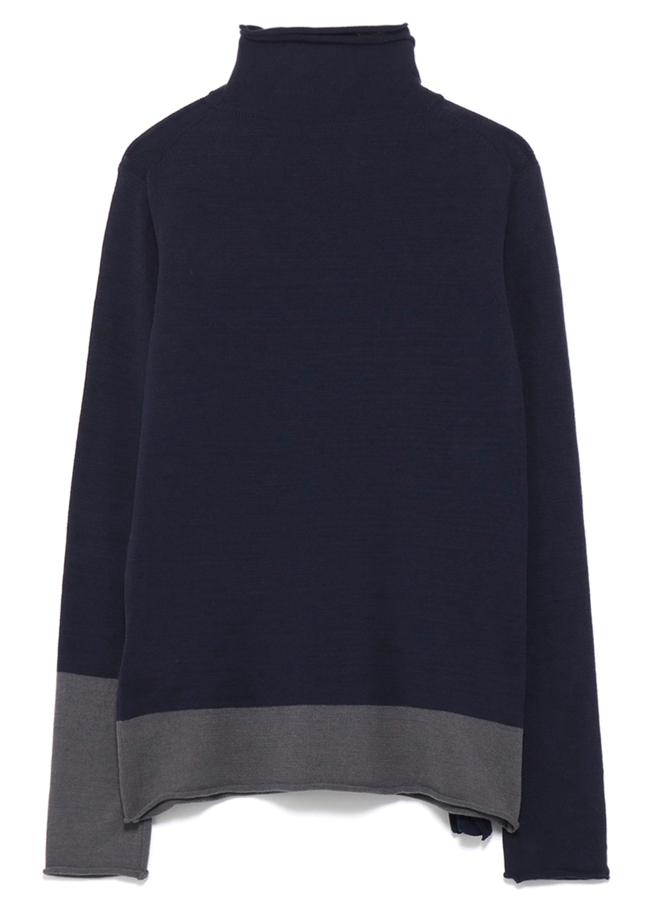 FRONT SLANT DESINED LAYERED NECK KNIT