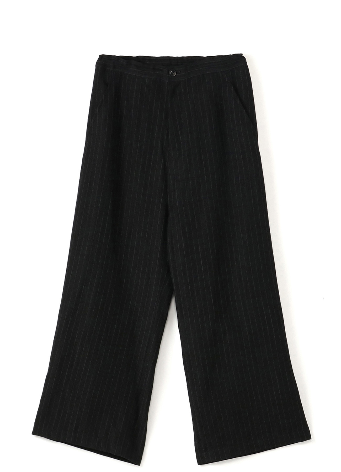 WOOL LINEN PIN STRIPE YARN DYED STRAIGHT THICK PANTS
