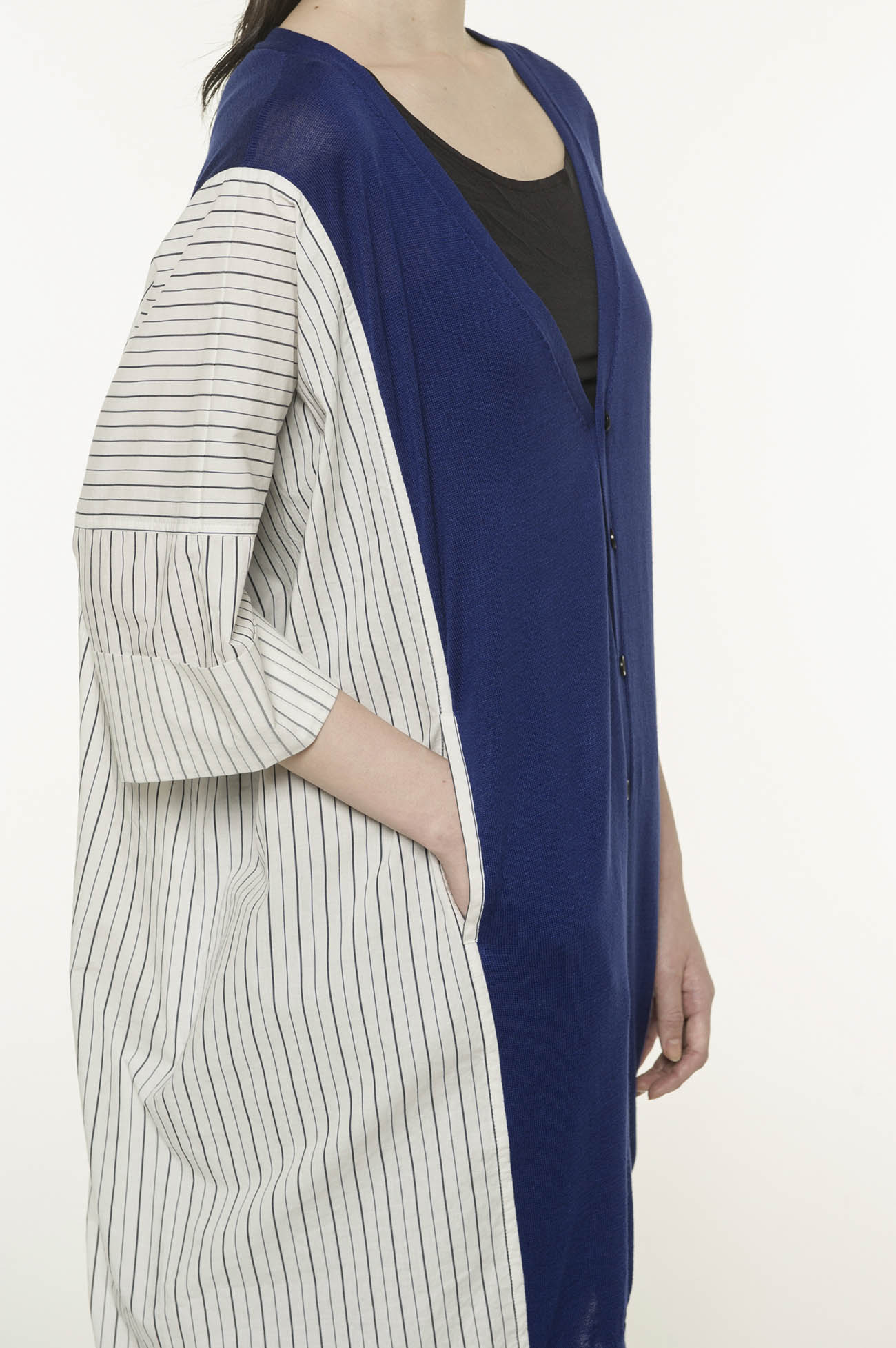 RISMATbyY's Cotton Rayon Silk India Shirt Switching Asymmetric Cardigan