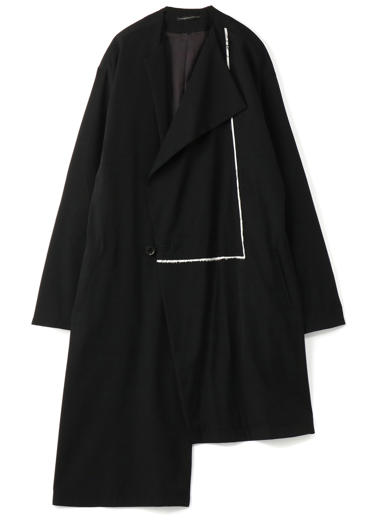 WOOL GABARDINE ASYMME NO COLLAR COAT