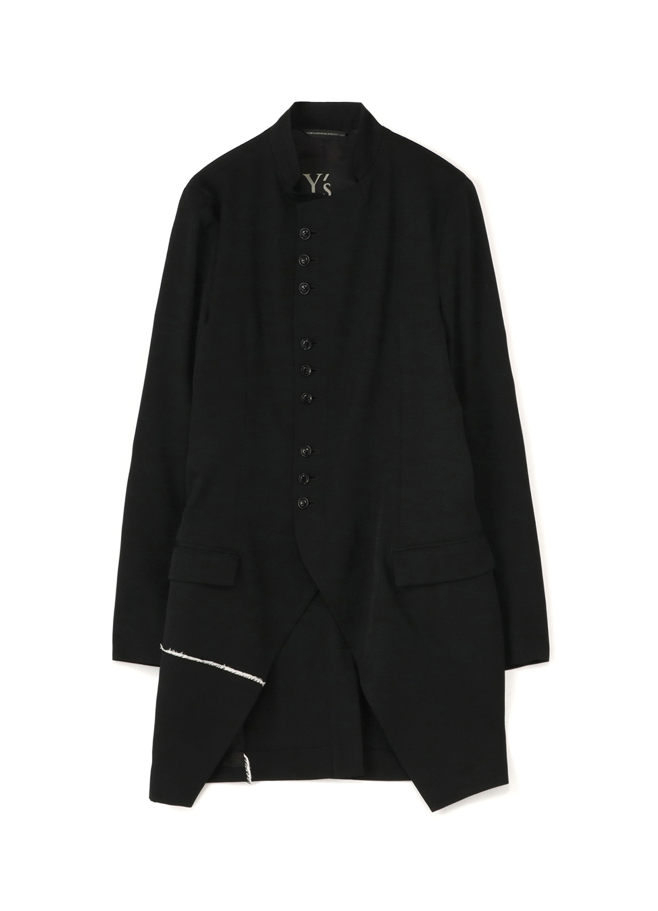 WOOL GABARDINE U-STAND COLLAR LONG JACKET