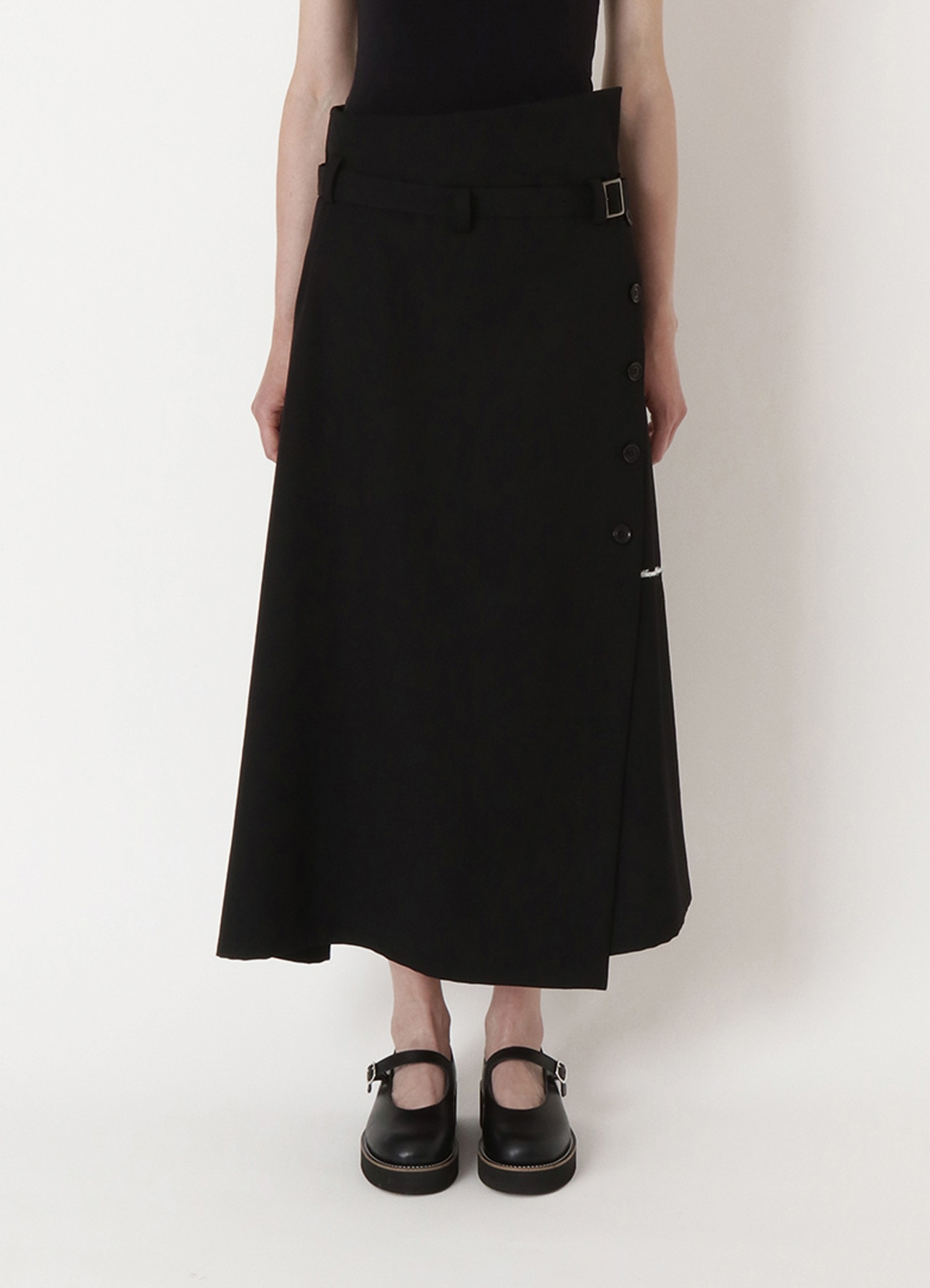 WOOL GABARDINE DOUBLE BELT WRAP SKIRT